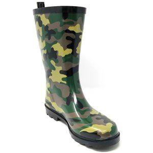 Women Mid Calf Rubber Rain boots, #6032, Camo